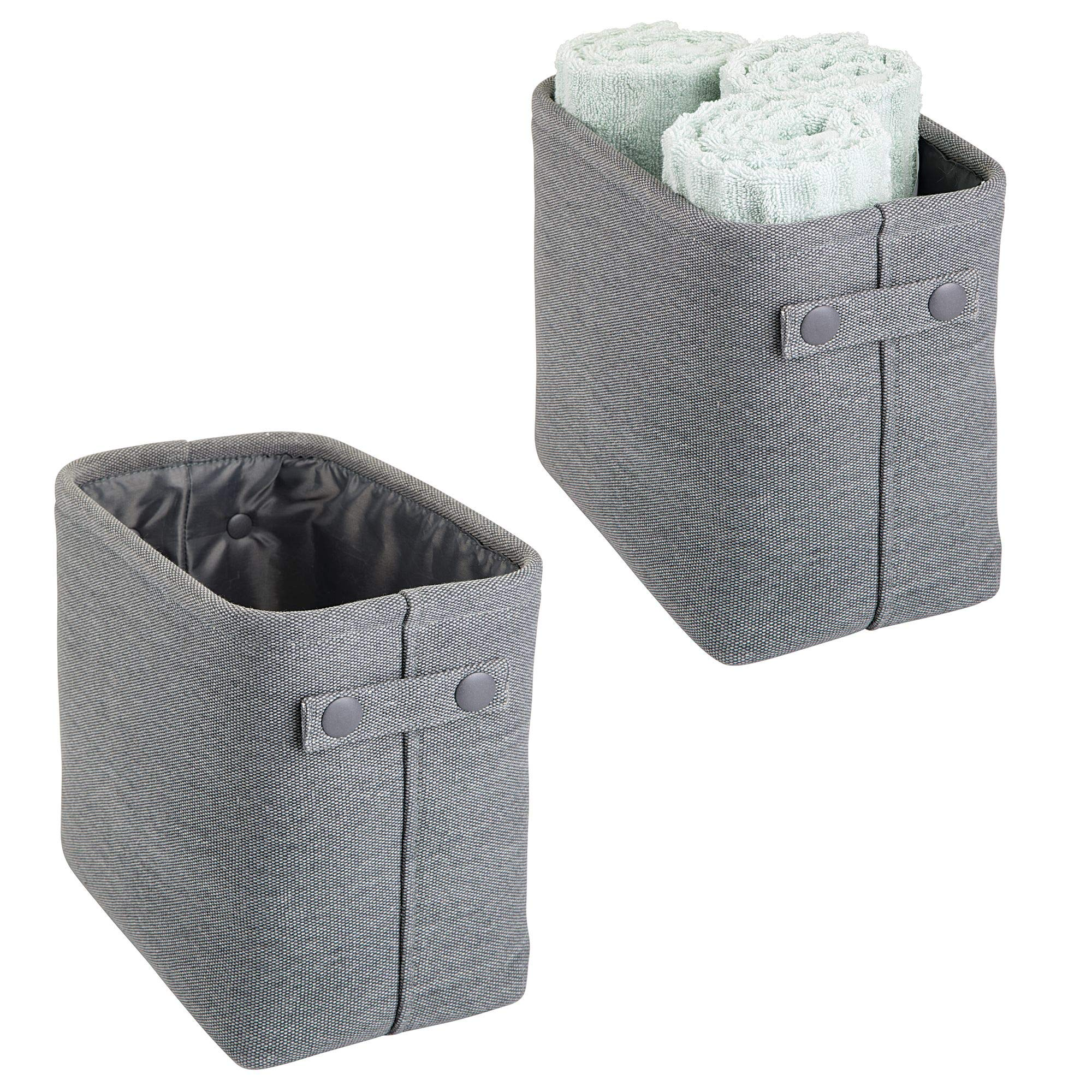 mDesign Soft Cotton Fabric Bathroom Storage Bin Basket with Coated Interior and Attached Handles - Organizer for Closets, Cabinets, Shelves - Pack of 2, Rectangular with Textured Weave, Charcoal