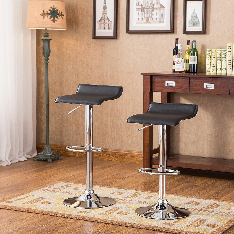 9. Roundhill Furniture Chrome Swivel Stools (Set of 2)