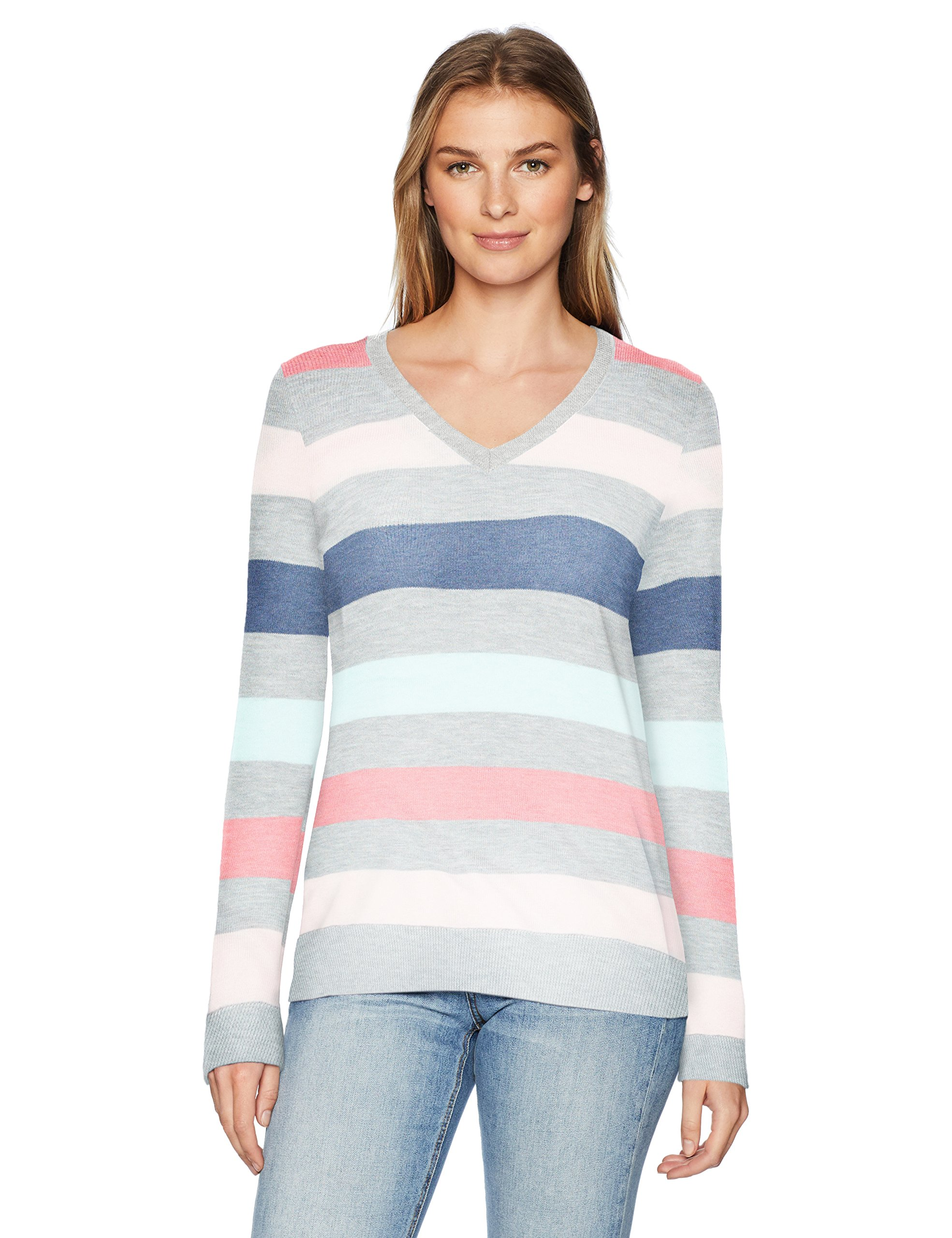 Amazon Essentials Women's Standard V-Neck Sweater, Pink/Light Grey Heather/Aqua/Navy Stripe, Large