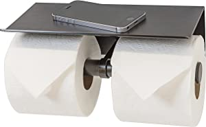 Neater Nest Reversible Toilet Paper Holder with Phone Shelf, Modern Style (Oil Rubbed Bronze, Double)