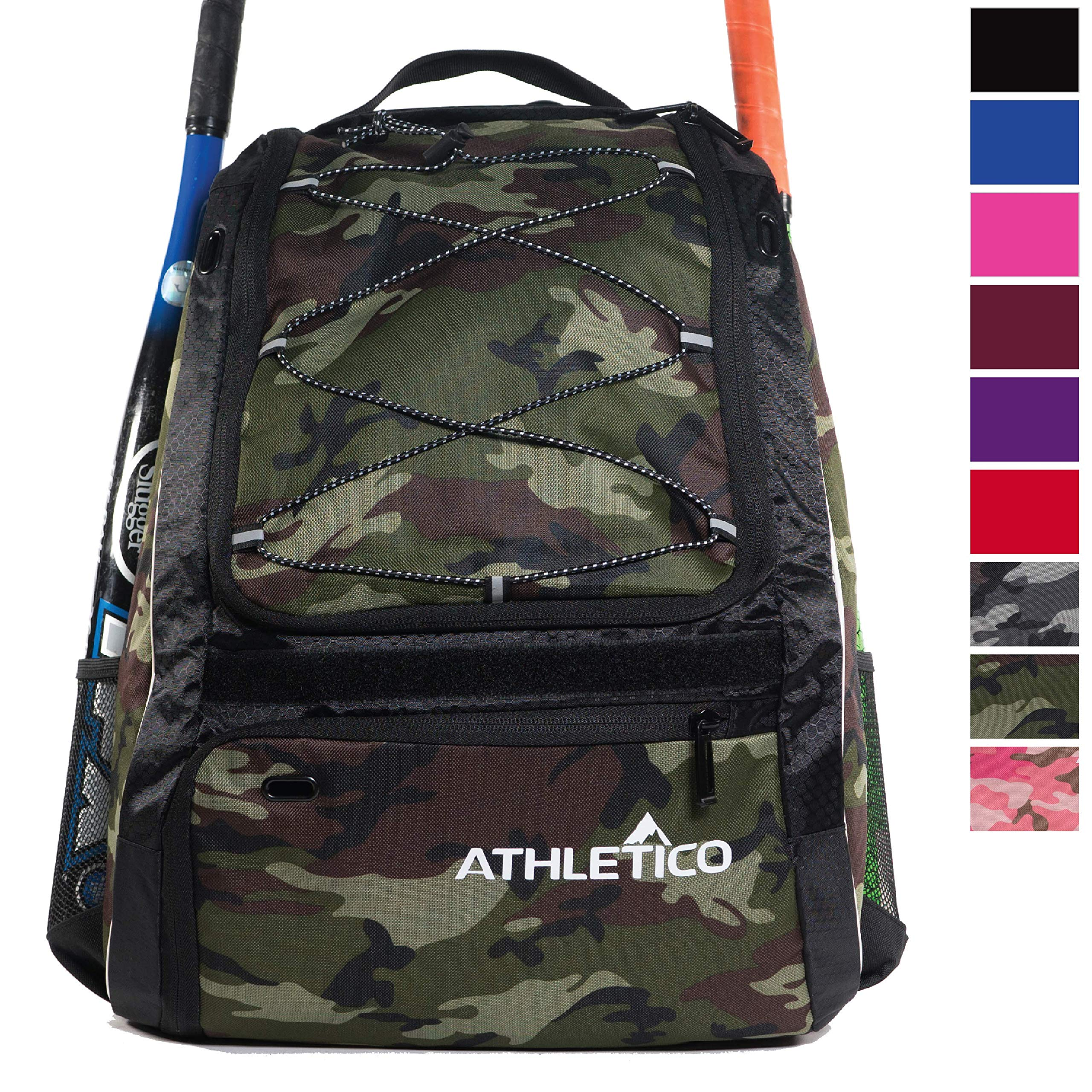 Athletico Baseball Bat Bag - Backpack for Baseball, T-Ball & Softball Equipment & Gear for Youth and Adults | Holds Bat, Helmet, Glove, Shoes |Shoe Compartment & Fence Hook (Green Camo) by Athletico
