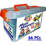 MOJO MAGS - Magnetic Tiles or Blocks for Kids - Magnetic Building Toys for Toddlers - Packaged in a Plastic Box - Includes Booklet and Pair of Wheels - Set of 66 Pieces