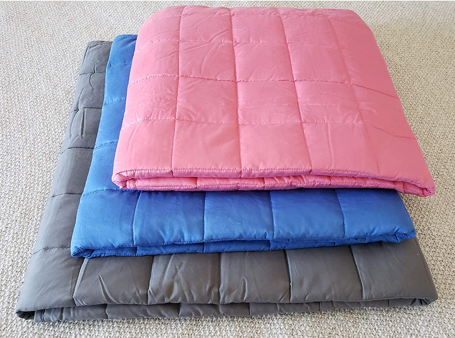 TheraLux Premium Weighted Blanket 41x 60, 10lbs, Pink Cotton with Glass Beads