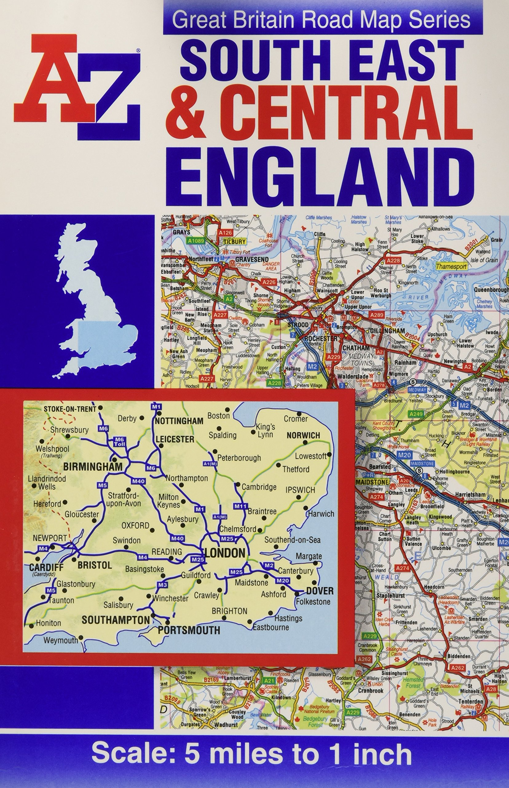 A Z Map Of England.South East Central England Road Map A Z Road Map