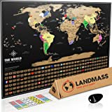 Landmass Scratch Off World Map Poster. Original Travel Tracker Map Print w/ Flags, US states outlined. Clean design and vibrant colors to make your story come to life. The gift travelers want.