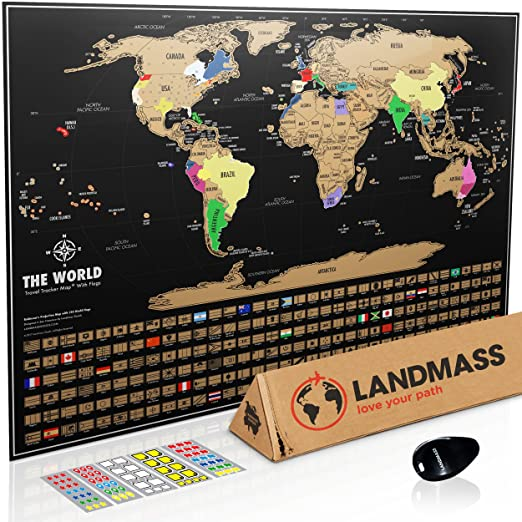 Amazon landmass scratch off world map poster original travel amazon landmass scratch off world map poster original travel tracker map print w flags us states outlined clean design and vibrant colors to make gumiabroncs Gallery