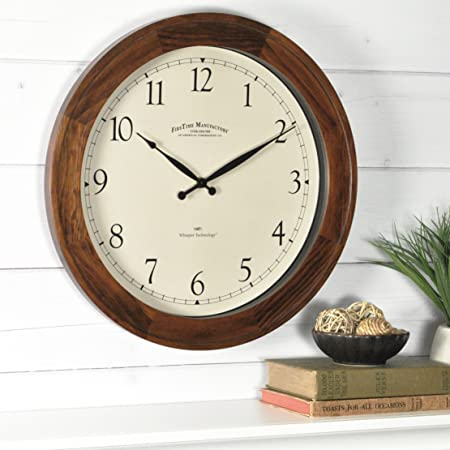 Firstime Co Walnut Garrison Wall Clock American Crafted Walnut Wood 16 X 2 X 16 Furniture Decor Amazon Com
