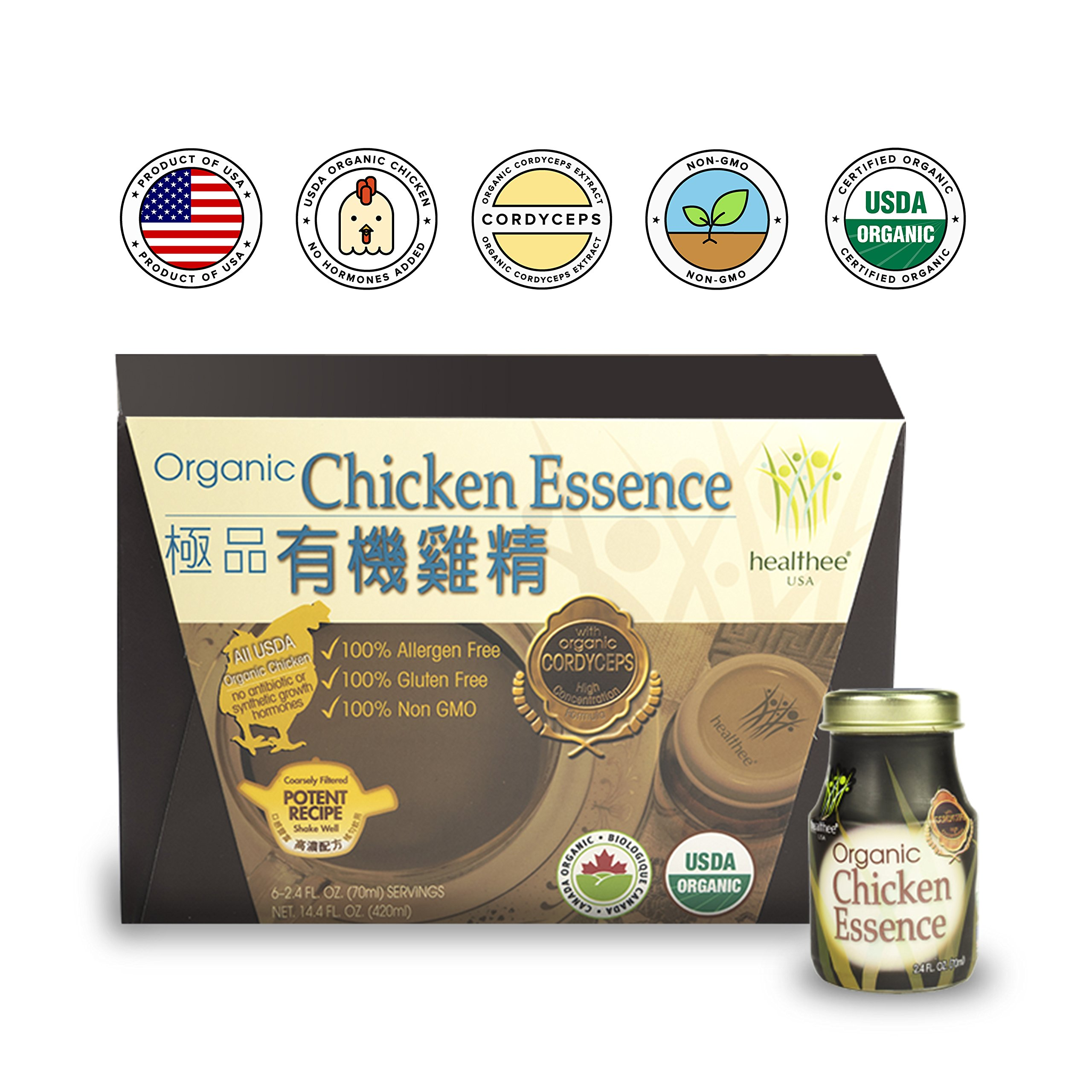 Healthee Chicken Essence with Cordyceps Extract Drink, Premium Brand and Organic, Glass Bottle, 2.36 Ounces (70 ml) - Pack of 6 - 有機雞精