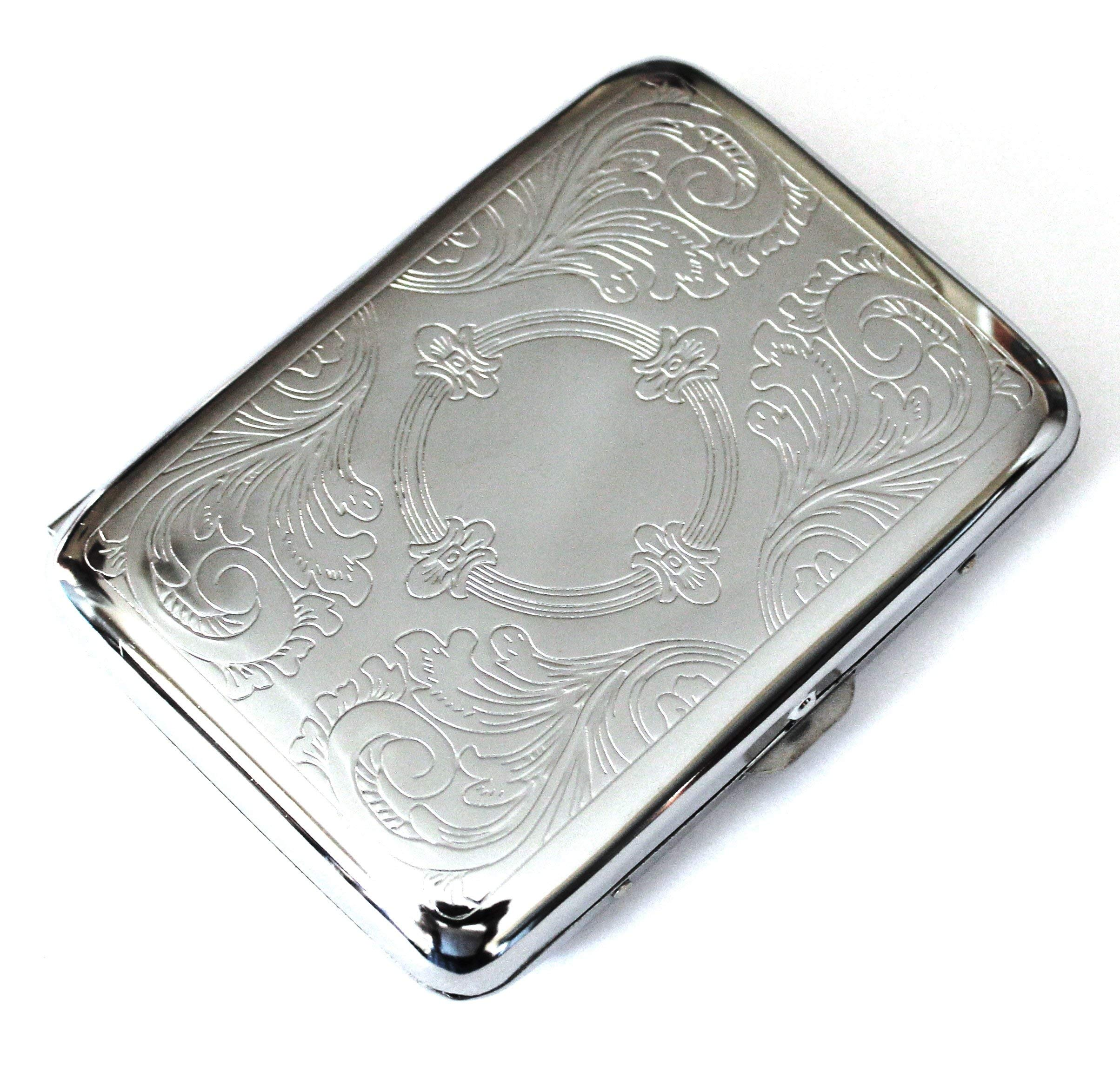 Classic Metallic Silver Color Double Sided King Cigarette Case Etched Design - Shorter Than 100's