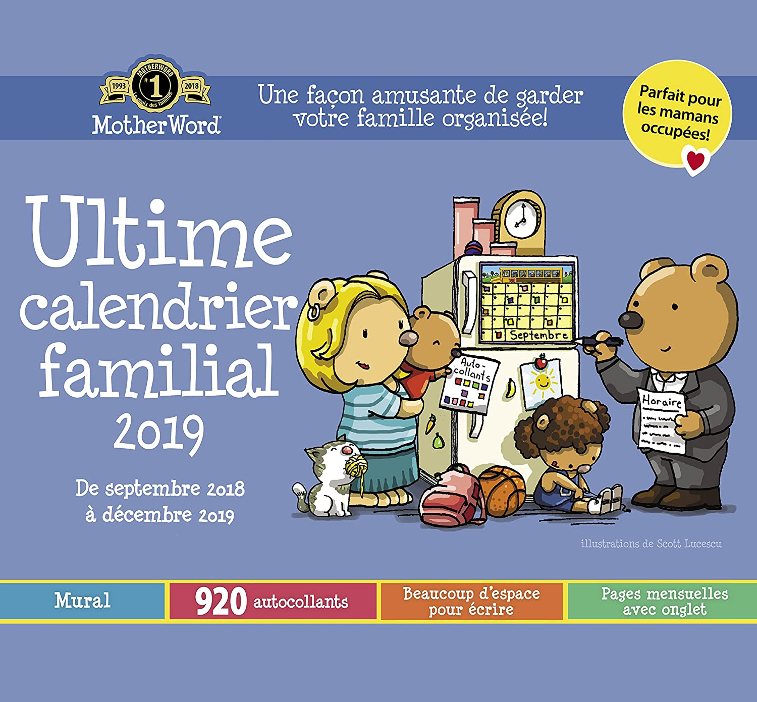 MotherWord Ultimate Family Wall Calendar, 16-Month, Sept 2018-Dec 2019, English, Small Tabbed Version, 12 x 11 (DDTB112819)