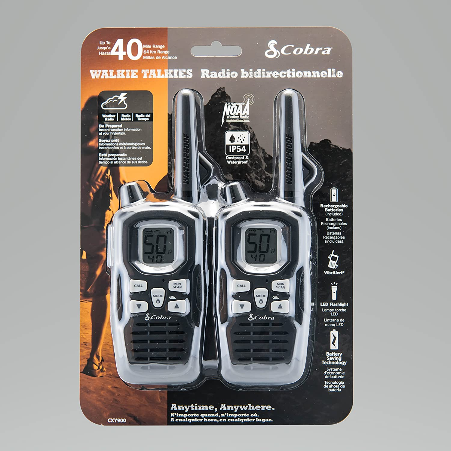Long Range 35 Mile Rechargeable Altis Global Limited ACXT565 Weather /& Emergency Radio Cobra CXY800 Two-Way Radio 22 Channel FRS//GMRS Waterproof IP54 and Dustproof Pair Rechargeable Batteries