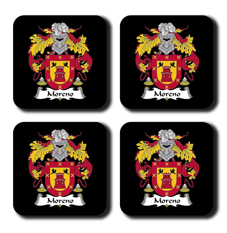Moreno Coat of Arms /家紋コースターセット、by Carpe Diem Designs – Made in the U。S。A。 ブラック Coaster-FC-Moreno-Blk  ブラック B078VWS9PL