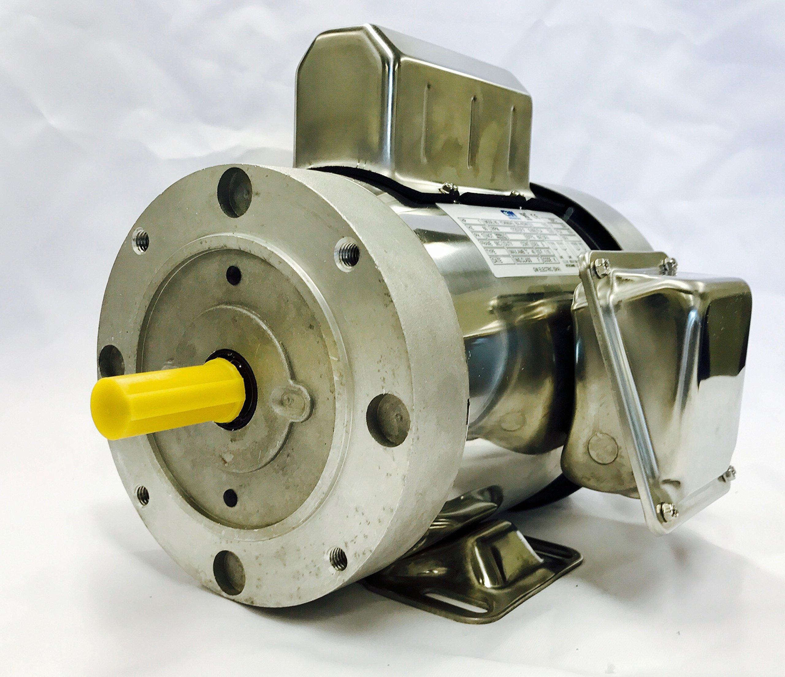 GW YCN5654BX 1 HP Stainless Steel Boat Lift Motor, 1725RPM, 1.15 Service Factor, 56C Frame, TEFC, 115/230V, SST Boat Hoist Motor