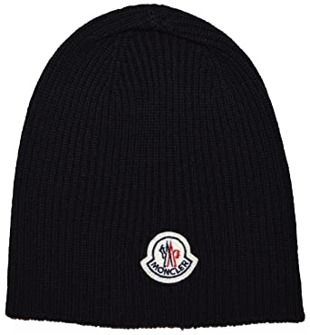 a823eb0a0b5 Moncler Wool Beanie Hat A2 091 Black  Amazon.co.uk  Clothing
