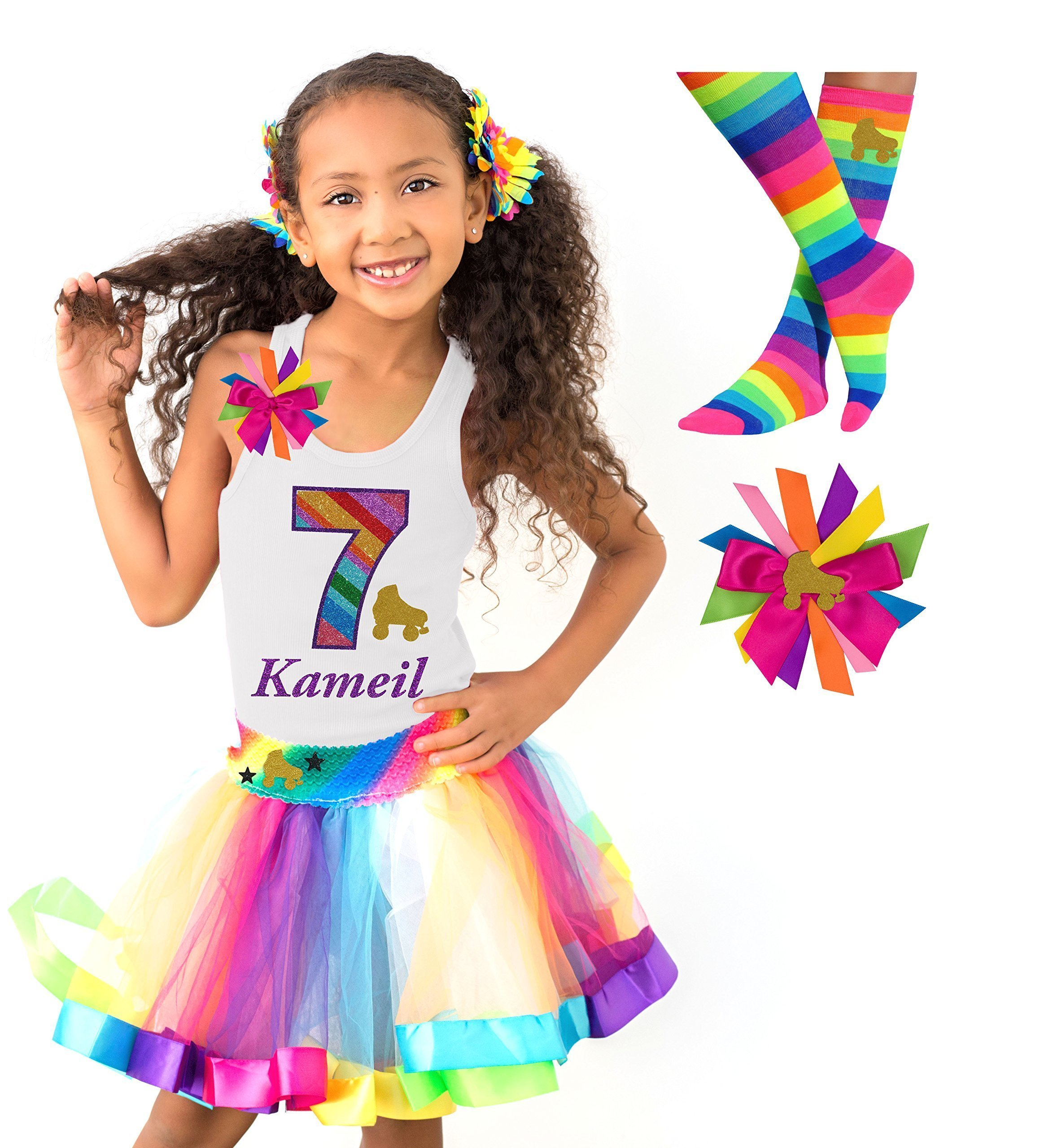 Roller Skate Shirt 7 Kid Girls Rainbow 7th Birthday Skating Outfit 4PC Gift Set Custom Personalized