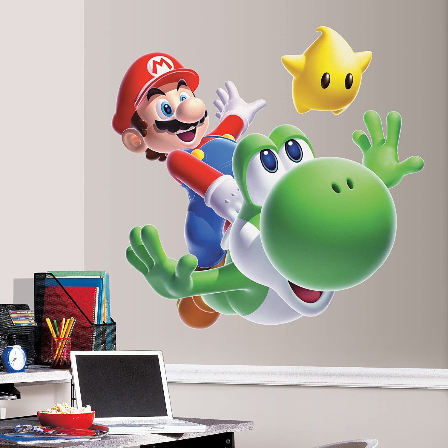 amazoncom roommates slm mario yoshi peel  stick giant wall  - amazoncom roommates slm mario yoshi peel  stick giant wall decalhome improvement