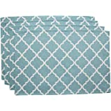"""Living Fashions Washable Woven Placemats (13"""" x 19"""") Non-slip Table Mats for Kitchen Dining, Set of 4, Color Teal Blue"""
