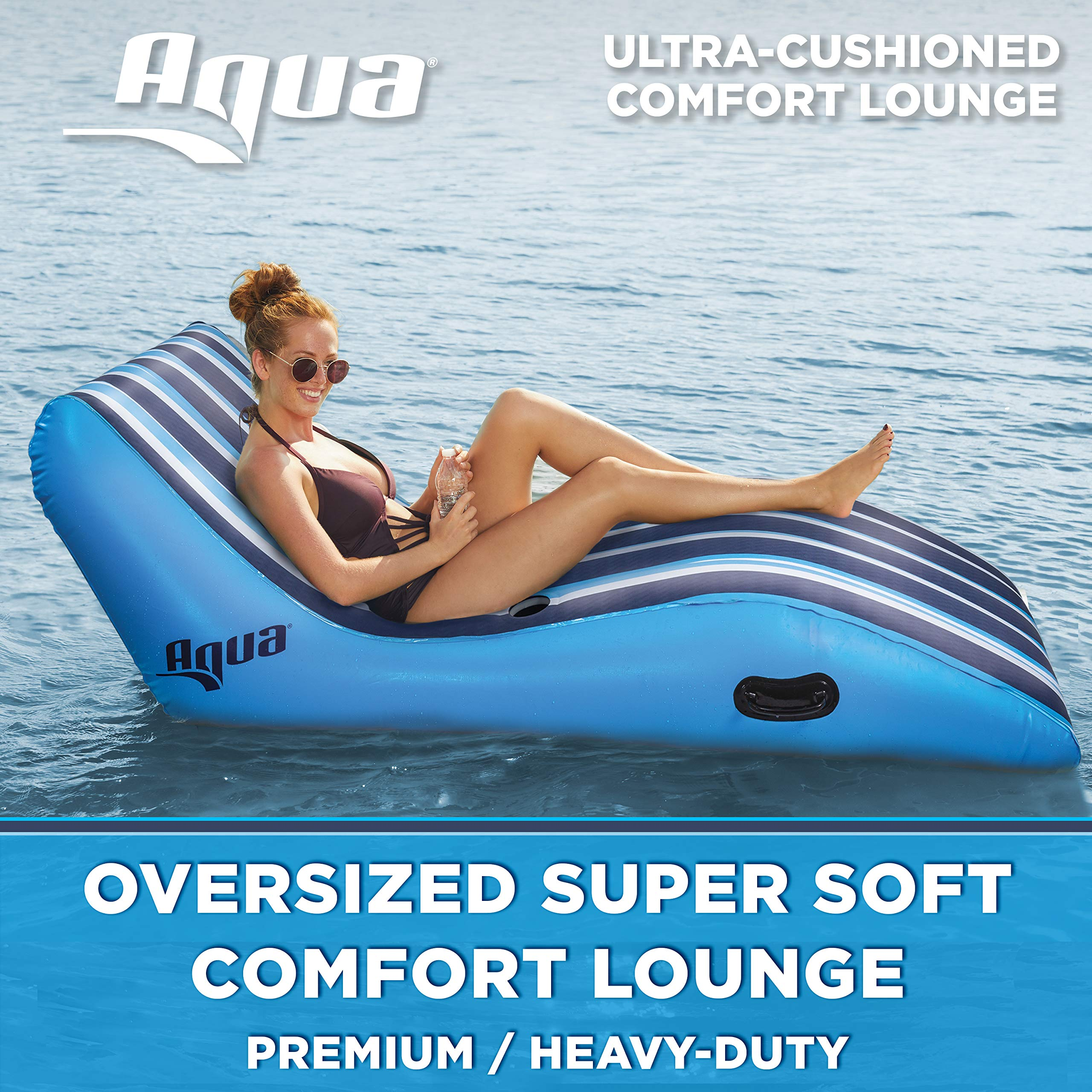 Aqua Ultra Comfort Recliner Lounge, One 1-Person, Heavy Duty, X-Large, Lounge Pool Float, Navy/White Stripe by Aqua (Image #1)