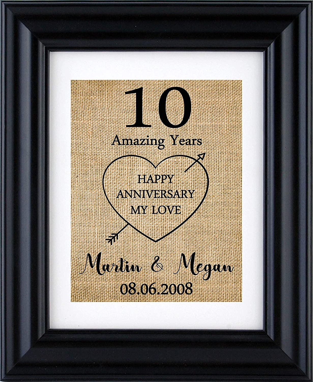 Amazon Com Personalised 10th Anniversary Gift Anniversary Print For 1st 5th 10th 20th 15th 25th 30th Wedding Anniversary Anniversary Gift For Him Gift For Her Anniversary Burlap Print Frame Not Included Handmade