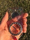Boussole (la Base pour la Survie, L'Orientation, Navigation, Sac à Dos) - Rubrique Magnétique, Rempli de Liquide, Roulement d'Azimut, Plaque de Base avec une Règle de Carte