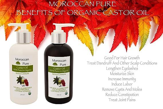 Puro Marroquí Orgánico Natural 100% aceite de ricino aceite de masaje y Humectante - 100% prensado en frío para pelo, crecimiento del cabello y tratamiento.