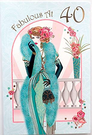Art Deco Lady Fabulous At 40 Birthday Card Amazon Office