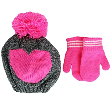 9fd215e1bf6 Image Unavailable. Image not available for. Color  Carter s Toddler Girls  Hot Pink Heart Knit Beanie Winter Hat ...