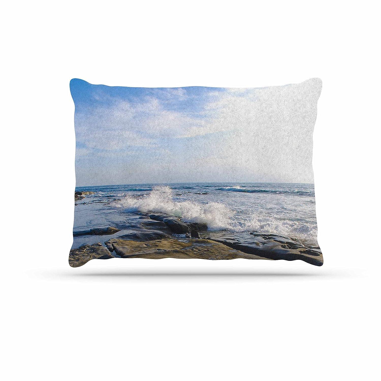 Kess InHouse Nick Nareshni Wave Against Rocks  Brown bluee Fleece Dog Bed, 30 by 40