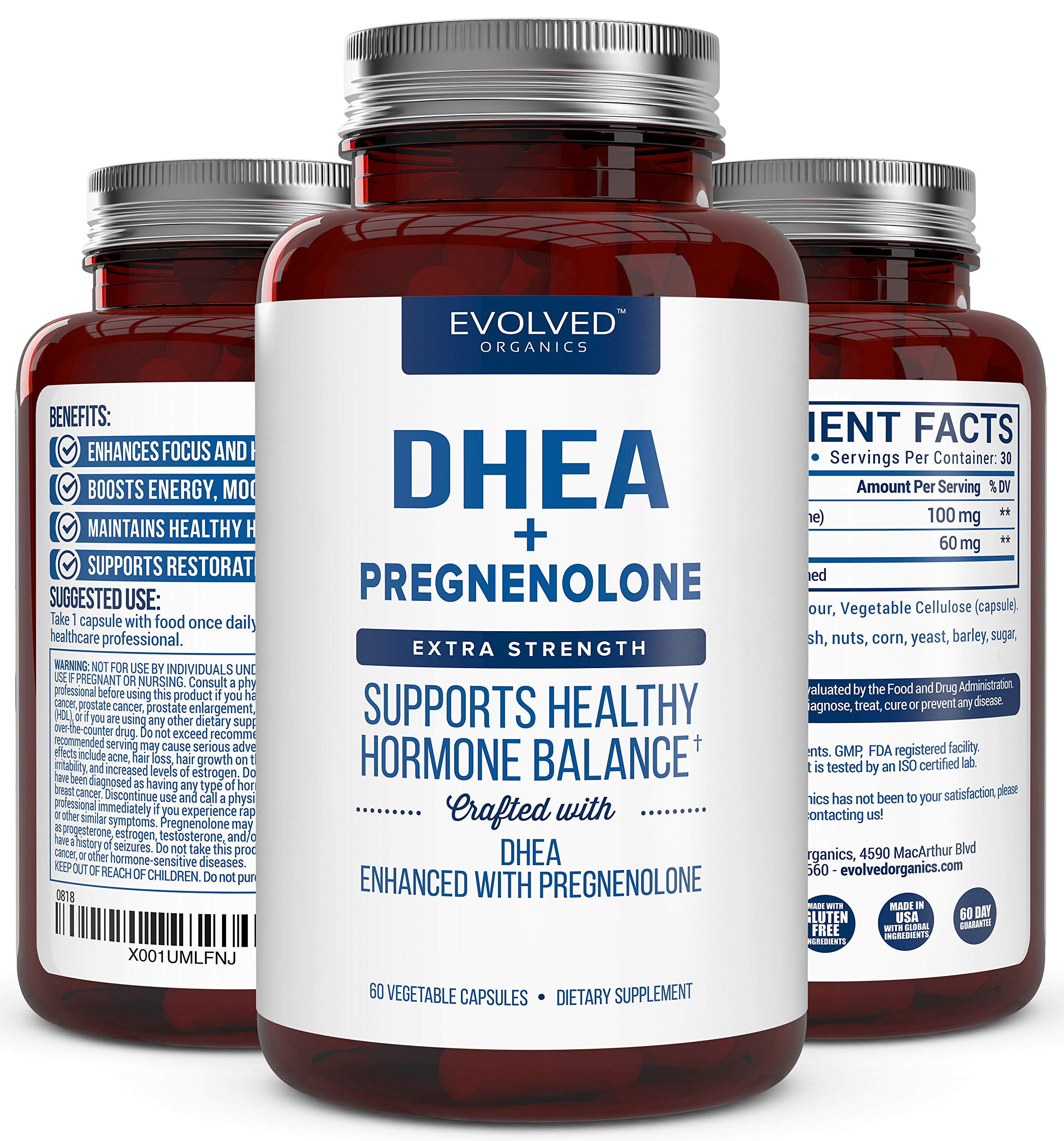 Extra Strength DHEA 100mg Supplement with Pregnenolone 60mg -Supports Hormone Balance, Lean Muscle Mass, Energy, Mood, Sleep, and Healthy Aging in Men and Women