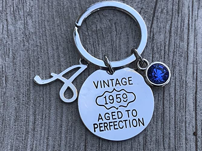 Personalized 60th Birthday Keychain With Birthstone Letter Charm Gifts For Men Women Vintage 1959 Aged To Perfection