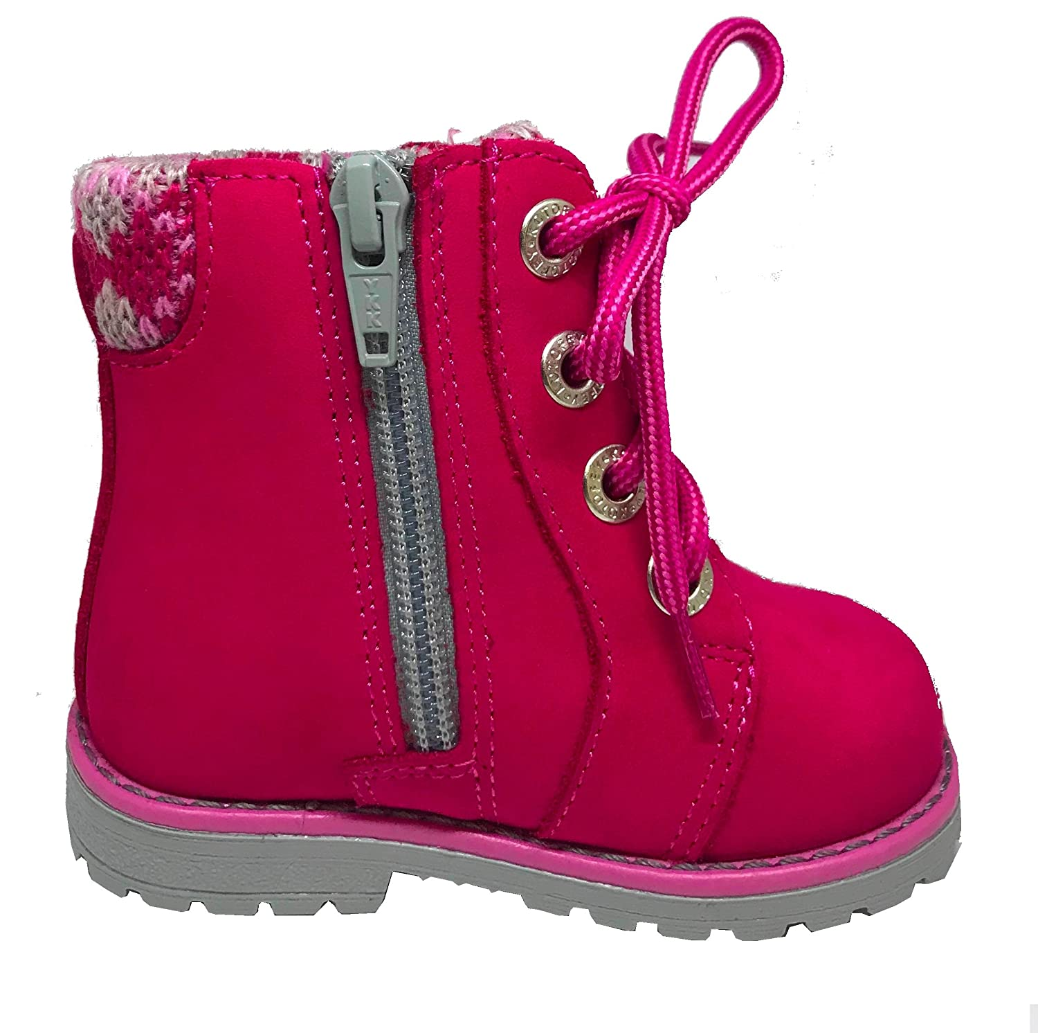 Kotofey Girls Red Boots 052078-34 Genuine Leather Shoes with Wool Lining and Wool Insole