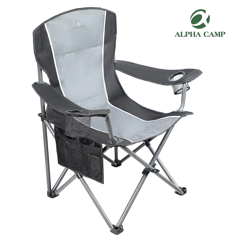 アルファCamp Heavy Duty Folding Arm椅子オーバーサイズキャンプ椅子ポータブルパッド入り椅子腰椎バックサポート350 lbs E01CC010100301 B0759ZYLLD  ブラックグレー