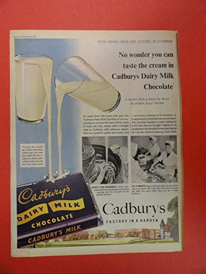 Cadburys Dairy Milk Chocolate 50s Print Ad Glasses Of Pouring Into Candy Bar