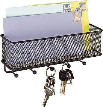 Modern Black Wall Mounted 5 Key Hook Rack with Metal Wire Mesh Mail Basket