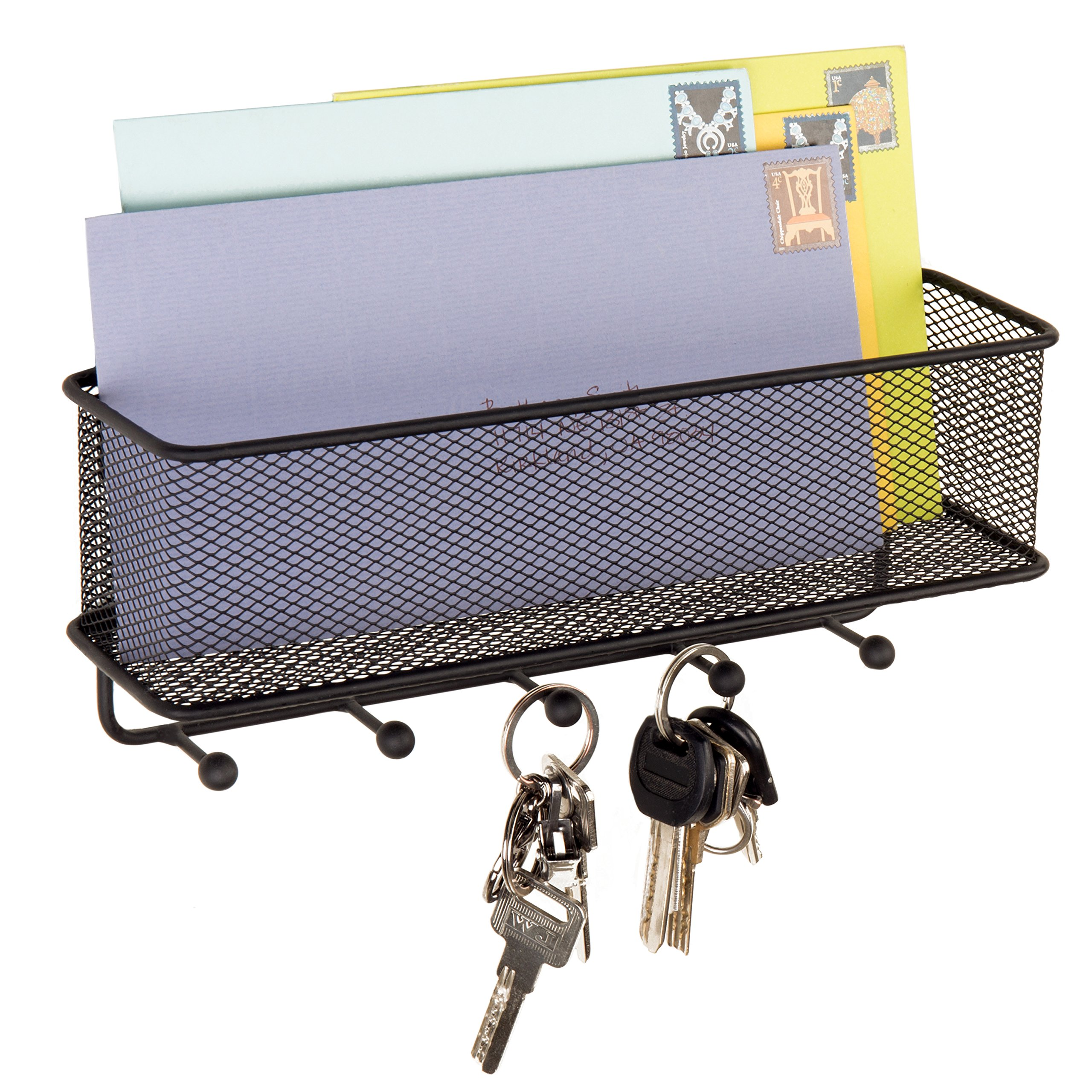 MyGift Wall-Mounted Metal Mesh Mail Holder Basket with 5 Key Hooks