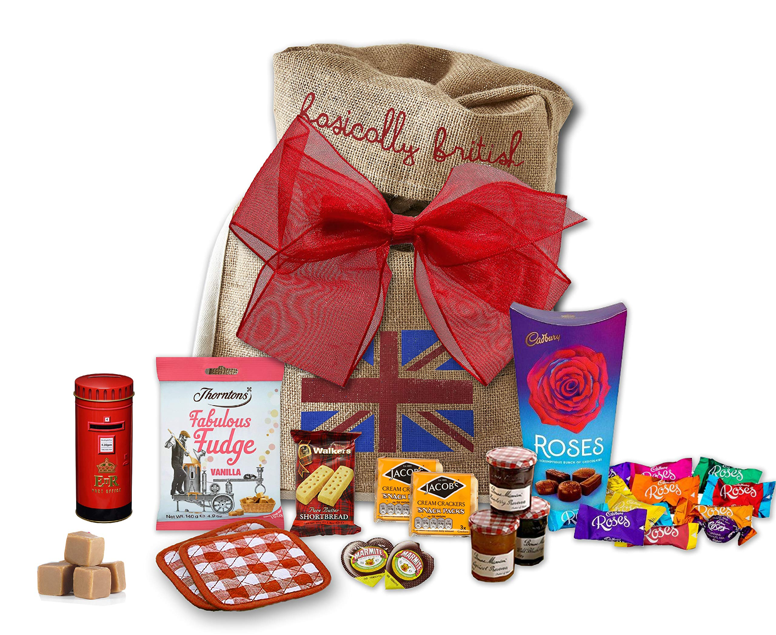 The Great British Tea Hamper   British Tea Gift Set British Gifts   British Post Box New English Tea Tin Coasters in Basically British Gift Bag