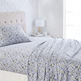 "AmazonBasics Lightweight Super Soft Easy Care Microfiber Sheet Set with 16"" Deep Pockets - Twin, Blue Floral"