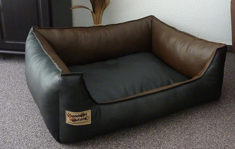 sofa pour chien en simili cuir avec coussin 105 x 80 cm noir et marron amazonfr animalerie - Canape Pour Chien Grande Taille