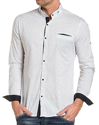BLZ Jeans - Chemise Homme Blanche à Motifs Bleu col Mao - Couleur  Blanc - 1ac40acd133