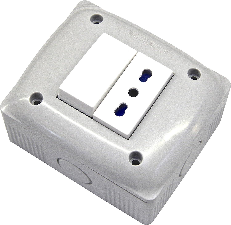 bianco nuovo Contenitore protetto con presa bivalente