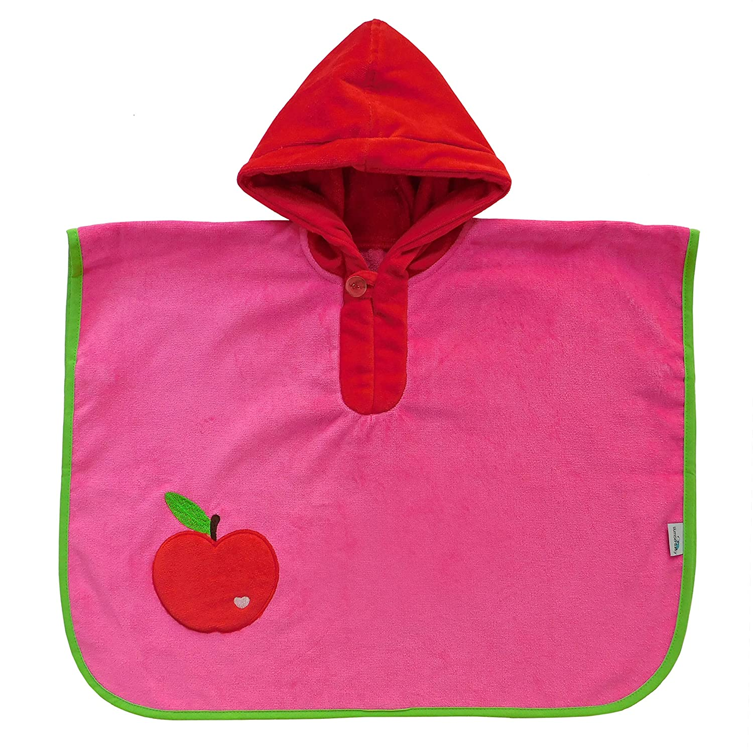 Slumbersac Baby Toddler Bath Poncho Towel Red Apple, 1-3 Years