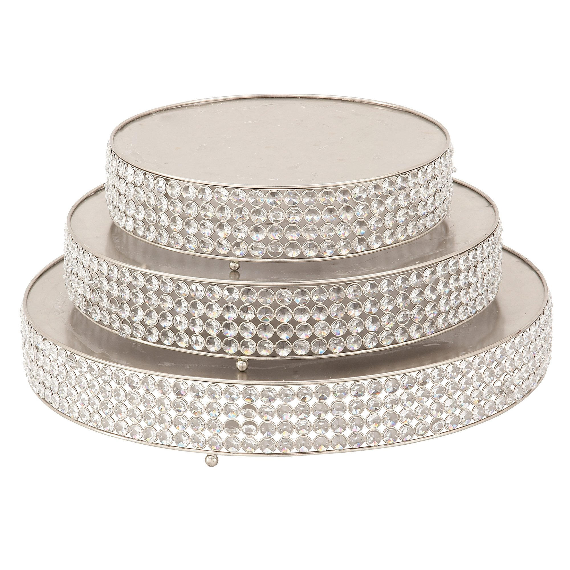 Urban Designs 7776245 Party Essentials Round Silver Bead Cake Stand - Set of 3,Silver