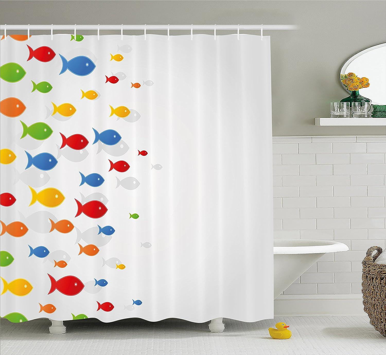 Océano Animal Decor cortina de ducha por Ambesonne, tipos de colores diseño de flotadores de peces sobre fondo gris, diseño de mar mamíferos, tejido set de ...