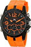 U.S. Polo Assn. Sport Men's US9057 Black Metal Watch with Orange Rubber Band