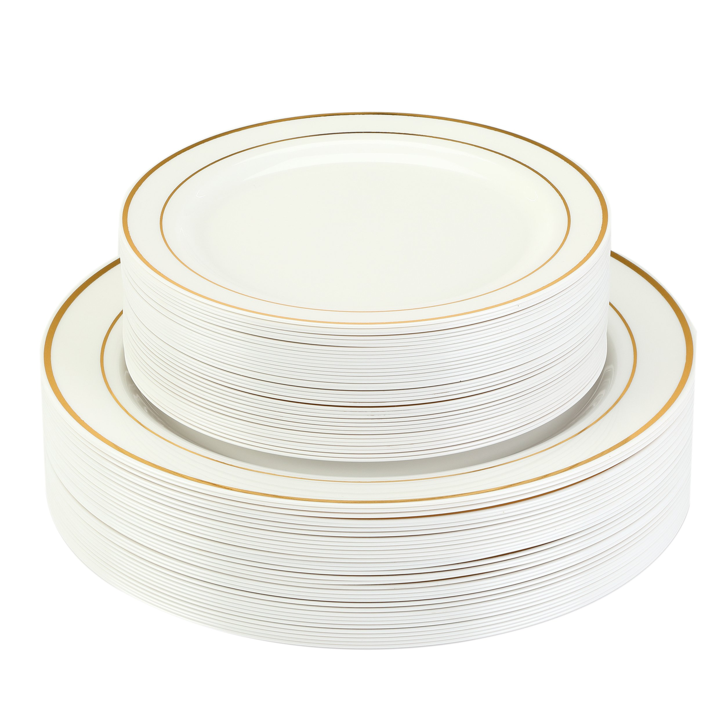 """Premium Disposable Plastic Plates 240 Pack (120 x 10.5"""" Dinner + 120 x 7.5"""" Salad/Desert) Ivory with Gold Rim by Finest Cutlery for Weddings, Parties, and Special Occasions"""