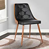 Armen Living Lily Dining Chair in Black Faux Leather and Walnut Wood Finish