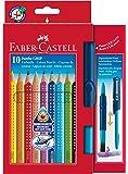 Faber-Castell 110914 Jumbo GRIP crayons de couleur, étui carton de 10 + CLIC&GO pinceau 10