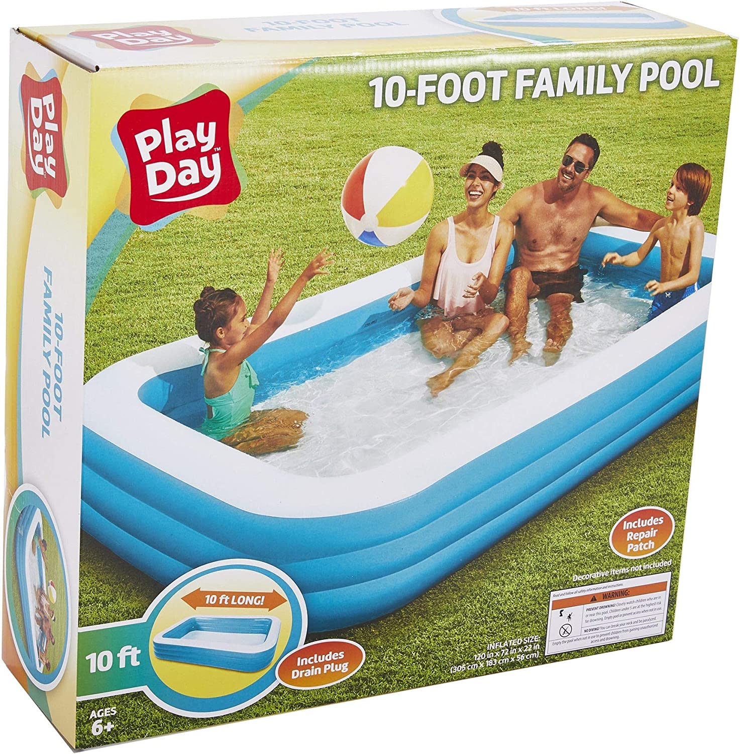 Play Day 10 Foot Family Pool Garden Outdoor