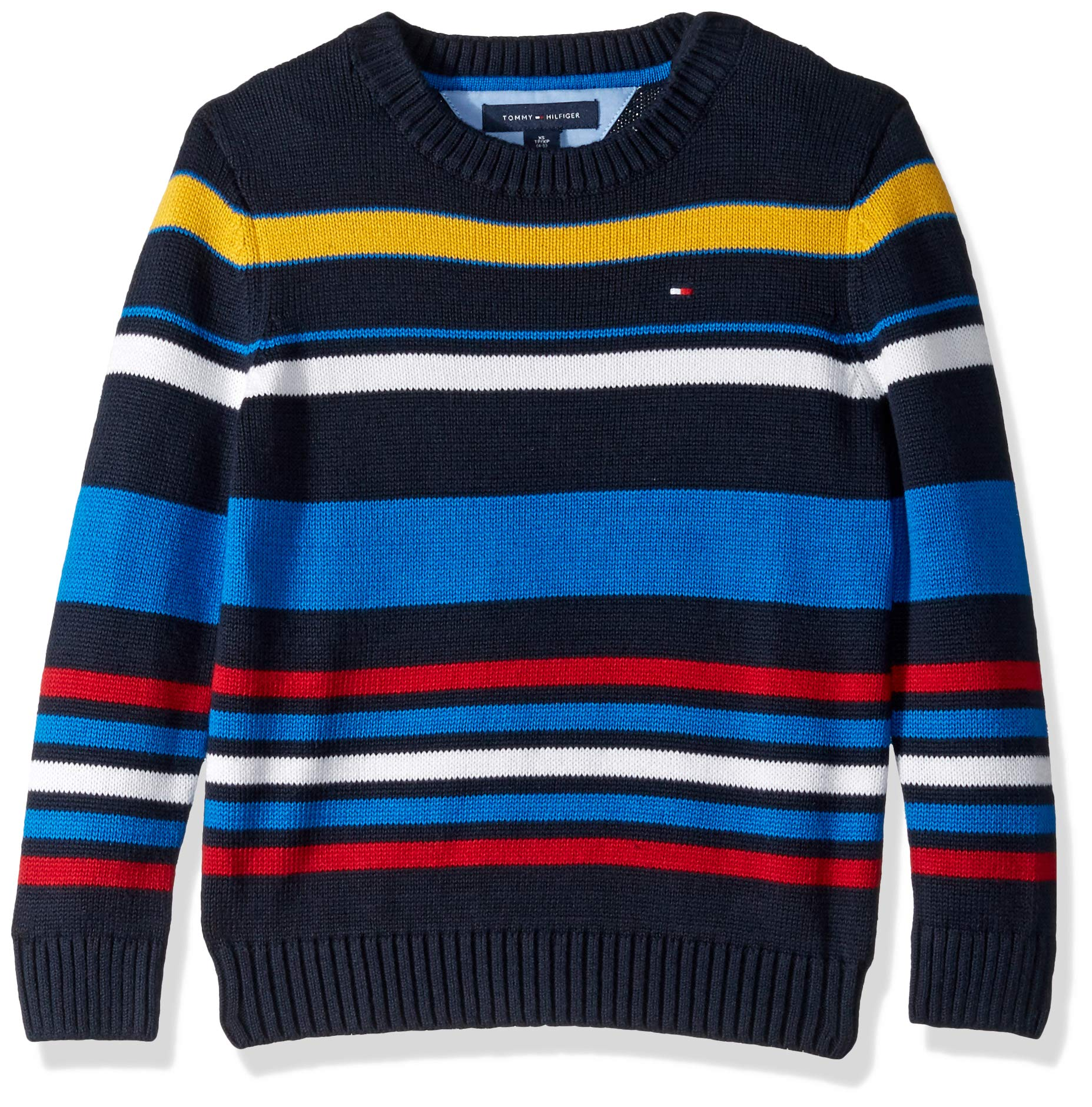 Tommy Hilfiger Boys' Adaptive Sweater with Velcro Brand Shoulder Closure, masters navy MD