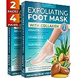 Foot Peel Mask - 2 Pack of Baby Soft Peeling Masks - for Dead Skin & Dry Feet - Exfoliating Masks with Argan Oil & Collagen -